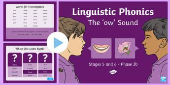Northern Ireland Linguistic Phonics Stage 5 and 6 Phase 3b, 'ow' Sound PowerPoint