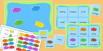 2D Shape and Colour Fishing Bingo Activity - 2d shape, bingo, fishing