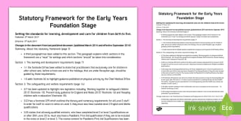Changes to the Statutory Framework for the Early Years Foundation Stage March 2017 Information Leaflet - new eyfs, 3rd March 2017, 3rd April 2017, changes to the eyfs, statutory framework, early years, practitioners, teachers, nursery, reception, pre