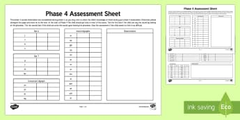Phase 4 Phonics Letters and Sounds Assessment Sheets - phase 4, letters and sounds, DFE, phonics assessment, letters and sounds assessment, phase 4 anaylsis sheet, literacy, phonics, planning and assessment, checklists