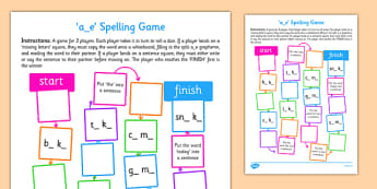a-e Spelling Board Game - spelling, board, game, a-e, a e, spell