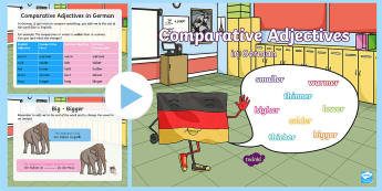 Comparative Adjectives PowerPoint - German - German, Grammar,  Adjectives, Comparative Adjectives, German sentences, Adjektive