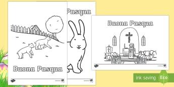 Buona Pasqua Fogli da Colorare Attività - pasqua, fogli, da, colorare, conigli, uova, pasquale