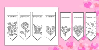 Valentine's Mindfulness Colouring Bookmarks Romanian Translation - romanian, mindfulness, colouring, bookmarks, colour, valentines day