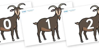 Numbers 0-31 on Big Billy Goats - 0-31, foundation stage numeracy, Number recognition, Number flashcards, counting, number frieze, Display numbers, number posters