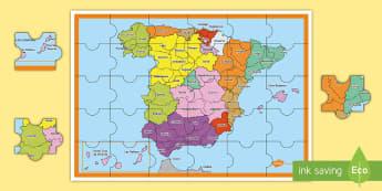 Puzle: Las provincias de España Juego - Mapas, provinicias, mapas mudos, mapas en blanco, las ciudades de españa, comarcas, concejos, comun