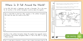 Where Is It Fall Around The World? Activity Sheet, worksheet