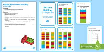 Brick Patterns Busy Bag Resource Pack for Parents - EYFS, Patterns, shape space measure, lego, lego cards, repeating patterns, repeating sequence, colou