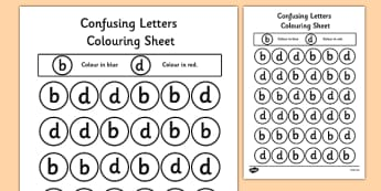 Confusing Letters Colouring Worksheets B and D - letters, vocab, literacy, reading, b and d