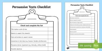 Persuasive Texts Checklist - persuasive texts, writing persuasively, persuasive writing, persuasive writing checklist, text features checklist, ks2 english