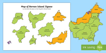 Map of Borneo Island Jigsaw Cut and Paste Activity - Map of Australia Jigsaw Cut and Paste Activity - geography, map, fine motor skills, identify, nation