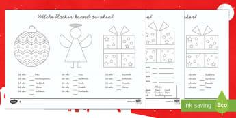 Weihnachten: Flächen erkennen Arbeitsblatt-German