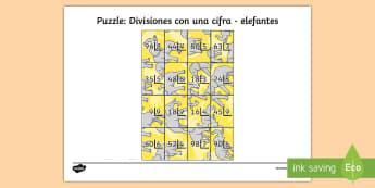 Puzzle: Divisiones con una cifra - elefantes - dividir, división, repartir, cifras, divide, division, sharing, figures, digits, escrito, escrita,