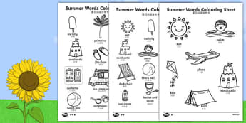 Summer Differentiated Words Colouring Sheet Chinese Mandarin Translation - seasons, colour, colering, colourng, seaons, couloring, summertime