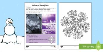 Coloured Snowflakes Activity Sheet - Amazing Fact Of The Day, activity sheets, powerpoint, starter, morning activity, January, KS1 amazin
