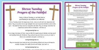 Shrove Tuesday Prayers of the Faithful Print-Out - prayers of the faithful, Roman Catholic, religion, prayer service, assembly, print-out, Shrove Tuesd