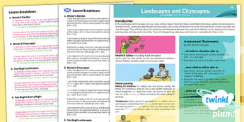 PlanIt Art and Design KS1 Landscapes and Cityscapes Planning Overview CfE - scottish, art, history, Famous artists, colour, displays, resources, planning, topic, KS1, key stage 1, comparing, difference, same