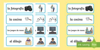 Favourite Hobbies Matching Cards - Spanish - Spanish, KS2, vocabulary, hobbies, favourite, matching, cards, game, pairs, individually, Vocabulary