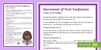 Sacrament of First Confession Prayers of the Faithful Print-Out - Prayers of the Faithful, ROI, Ireland, sacrament, First Confession, Roman Catholic, prayer service,