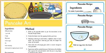 Pancake Art Recipe - Recipe, pancake day, shrove Tuesday, pancake art