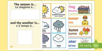 Weather and Season Day Calendar Italian Translation - Weather And Season Calendar - season, weather, calendar, spring, summer, autumn, winter, rainy, sunn