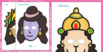 Diwali Role Play Masks - role play mask, role play, rama, sita, Diwali, religion, hindu, hanoman, rangoli,ravana, pooja thali, rama, lakshmi, golden deer, diva lamp, sweets, new year, mendhi, fireworks, party, food