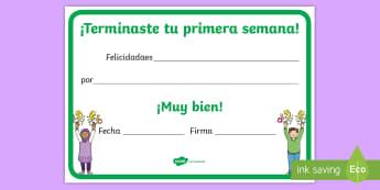 Diploma: Terminaste tu primera semana - diploma, diplomas, primera semana, semana, felicidades, premio, premios, ,Spanish