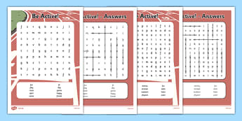 Active Week Differentiated Word Search - active, week, PE, physical, sports, sport