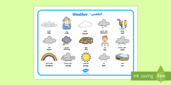 Weather Word Mat Arabic/English - EAL Weather Word Mat - Weather display, KS1, word mat, mats, writing aid, Weather, weather chart, we
