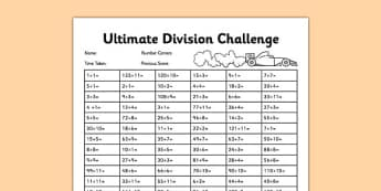 Ultimate Division Challenge - tables test, timed test, golden 100, tables challenge