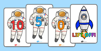 Spaceship Countdown Posters - Space Ship Role Play Pack, space, rocket, counting backwards, subtraction, one less than, space ship, alien, moon, astronaut, space log, stars, planets, role play, display, poster