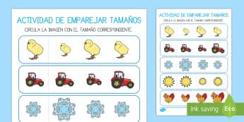 Ficha de emparejar tamaños: Las estaciones del año  - El tiempo y las estaciones del año, proyecto, matemáticas, medir,Spanish, grande, pequeño