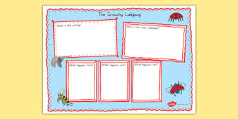 The Grouchy Ladybug Book Review Writing Frame - usa, america, the grouchy ladybug, book review writing frame