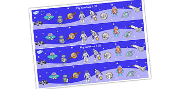 My Space Themed Number Strips 1-20 - numbers, numerstrip, number strip, counting, space themed, space, in space, space number strips, space 1-20, counting on, counting back, maths, math, numeracy, number track, number line