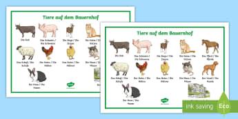 Farm Animals Word Mat German - Animals, Farm animals, Tiere auf dem Bauernhof, German, MFL, Languages
