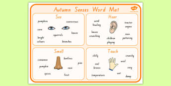 Autumn Senses Word Mat - nz, new zealand, seasons, weather, visual aid, keywords