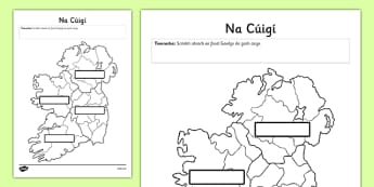 Irish Provinces of Ireland Activity Sheet - Ireland, Reuplic, Gaeilge, provinces, geography, ROI, Irish, worksheet