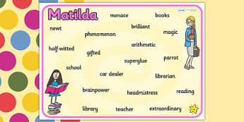Word Mat to Support Teaching on Matilda - matilda, roald dahl, key words, word mat