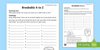 Breakable A-Z Alphabet Ordering Activity Sheet - Amazing Fact Of The Day, activity sheets, powerpoint, starter, morning activity, May, alphabet, alph