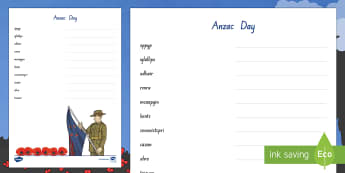 Anzac Day Word Unscramble - New Zealand, Anzac Day, 25 April, ANZAC, Poppies, World War 1, World War 2, Gallipoli, Word Unscramb
