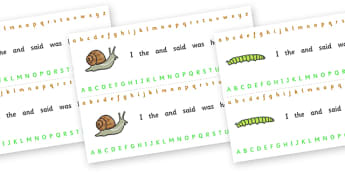 Alphabet Strips (Minibeasts) - Alphabet, Learning letters, Writing aid, Writing Area, minibeasts, spider, ladybird, slug, snail, butterfly