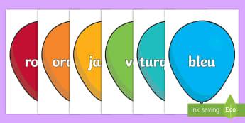 Posters d'affichage : Le nom des couleurs sur des ballons - Couleurs, colours, Cycle 1, poster, display, affichage, panneau, balloons, ballons,French