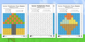 KS1 Summer Multiplication Mosaics Differentiated Activity Sheets - Requests KS1, ks1 times tables, ks1 numeracy, x2, x3, x5, x10, times tables, multiplication mosaics,