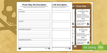 KS1 Pirate Ship Job Description  Writing Frames - Career, Motivation, Ambition, Interview, Questions, Answers