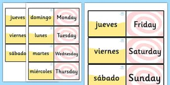 Spanish Days of the Week Loop Cards - Spain, visual, loop card