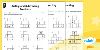 PlanIt Y4 Fractions Add and Subtract Fractions Home Learning Tasks - Fractions, adding fractions, add fractions, total, subtracting fractions, subtract fractions, take a
