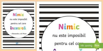 Nimic nu este imposibil - Planșă motivațională - motivație, dezvoltare personală, română, pozitiv, gândire pozitivă, motivația învățării,