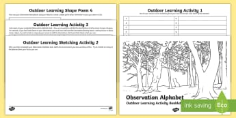 Observation Alphabet Outdoor Learning Creative Writing Activity Booklet - CfE Outdoor Learning, nature, forest, woodland, playground, creative writing, shape poems, adjective