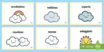 Il Tempo Metereologico Vocaboli con Illustrazioni Schede - stagioni, tempo, temporale, parole, vocaboli, illustrazioni, meteo, italiano, italian