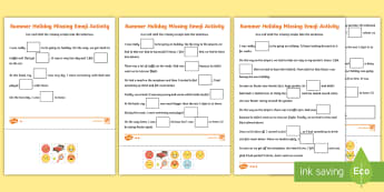 KS1 Summer Holiday Missing Emojis Differentiated Activity Sheets - Requests KS1, ks1 reading, ks1 inference, differentiated, emojis, emoji activity, ks1 emoji activity